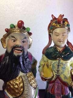 刘少奇窑彩关平与周昌H25cm
