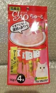 6.4 三文魚x雞胸肉 Ciao Churu 貓貓小食糊仔 零食 4條裝 14g x 4本入 日本製品