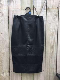 Faux Leather Pencil Skirt - Size 10