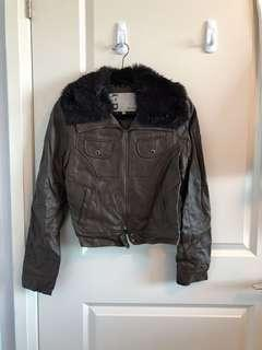 Roxy Brown Faux Leather Ladies Jacket - Small
