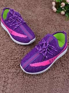 PURPLE POLYESTER LACE UP SHOES