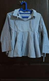 Jual baju haley stripe peplum blue