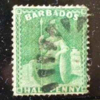 [lapyip1230 古董票] 英屬巴巴多斯 1873年 舊票 VFU