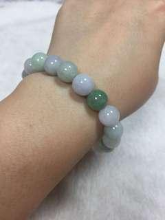 🚚 天然翡翠a貨紫綠白手珠串(彈性線繩)