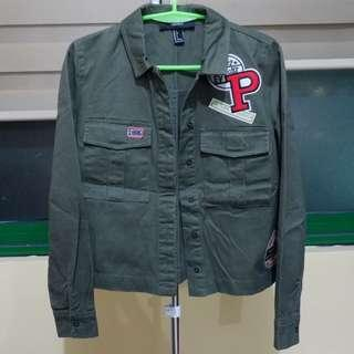 Forever 21 army green jacket with patches