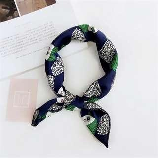Brand new square hair head neck scarf cute abstract girl navy blue