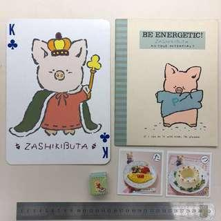 Sanrio 全圖$98 1984年起 z豬 zashikibuta set (啤牌、大簿、擦膠、食物卡) 送有缺貼紙,見圖二