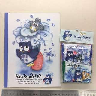 Sanrio 全圖$78 1993年 patapatapeppy 貓頭鷹 set (大簿、紙巾套裝)送有缺貼紙,見圖二