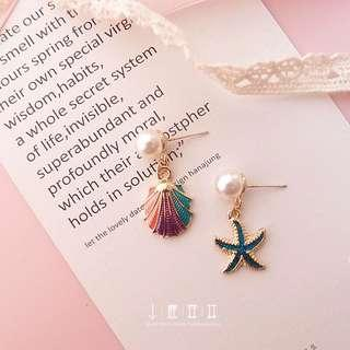 🚚 925銀針彩色貝殼海星珍珠耳環(預購)