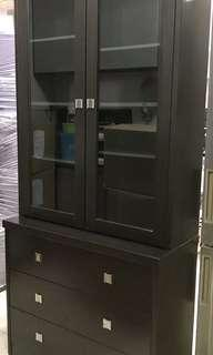 Glass Display cabinet with drawers
