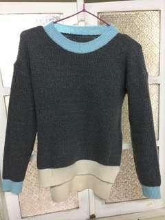 前短後長撞色毛衣/可穿至小L