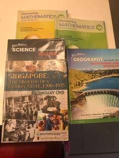 Discovering Mathematics 1A Discovering Mathematics 1B All About Geography Sec one All About Science for lower Secondary one Volume A  Singapore The Making of A Nation-State, 1300-1975