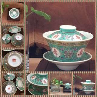 绿万寿三头盖杯 Vintage hand painted Chinese Tea Set