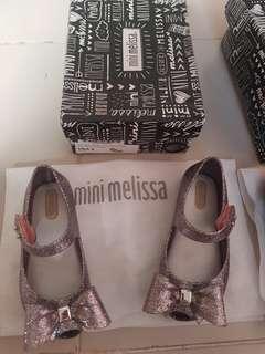 Mini Melissa Ultragirl VIII s8 15cm silver glitter ribbon kids shoes minimel sweet bow