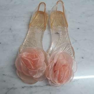 Flower jelly shoes flats