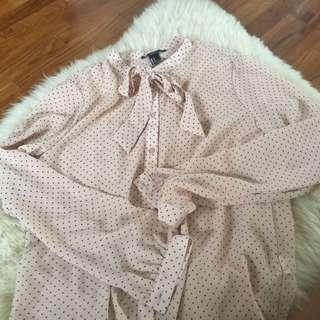 Forever 21 polka dot nude tie long sleeve