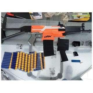 nerf full auto select fire qhx mp4 blaster with 2 body kits and 100 darts bundle, orange version