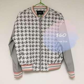 Korea Jacket 韓國 千鳥格 拼皮袖 棒球外套