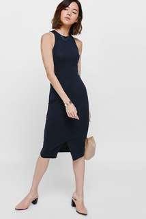 Love Bonito Reyna Bodycon Midi Dress Navy Blue