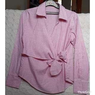 Women tops salur pink putih