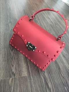 Red Studded Handbag with Sling
