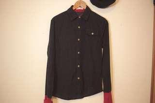 🚚 古著工裝細緻燈芯絨深藍紅縮袖襯衫
