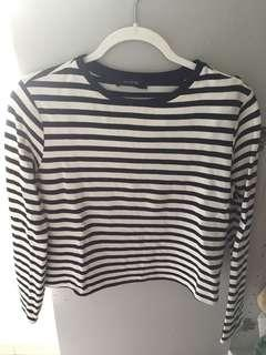 M&S stripe boxy crop top