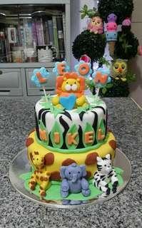 Jungle Safari Fondant Cake