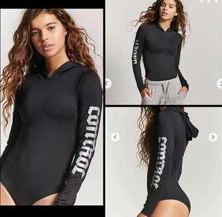Forever 21 Activewear Long sleeves Bodysuit with Hood