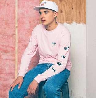Huf x pink panther long sleeve tshirt 粉紅豹 傻豹 粉紅色長袖T