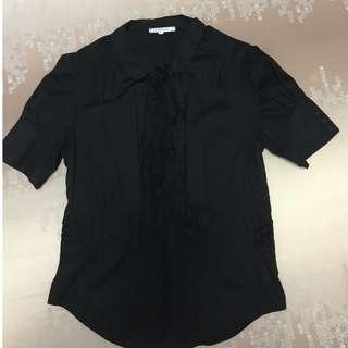 Pleated Black Blouse