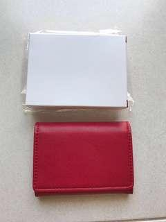 Red Leather Card Pouch Brand New In Box