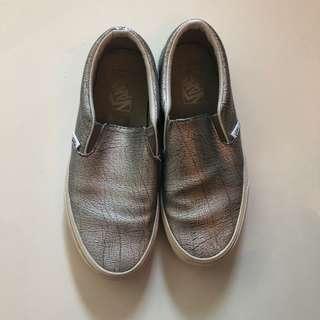 Metallic silver VANS slip on