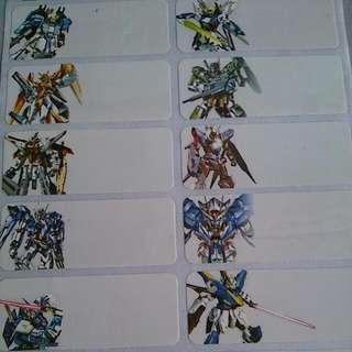 Gundam Name Stickers
