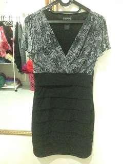 Mini Dress Enfocus black mix corak batik