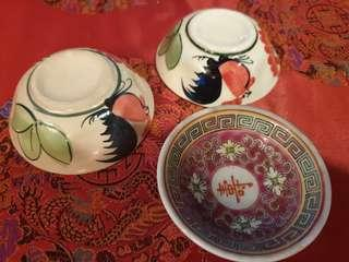 3pcs vintage chinese saucers chicken red