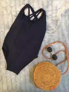 Trendy One piece Blue Swimsuit