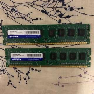 ADATA DDR3 1333Mhz PC3-10600 Desktop RAM 2G x 2 = 4GB