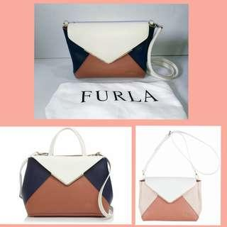 Authentic Furla Tricolor Kelis Leather Shoulder bag - like new