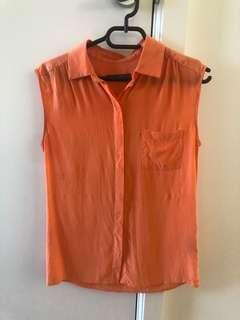 MARCS Orange Silk Sleeveless Top