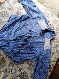 Blue Denim polkadots wrap top long sleeve