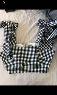Gingham tie up black and white crop top