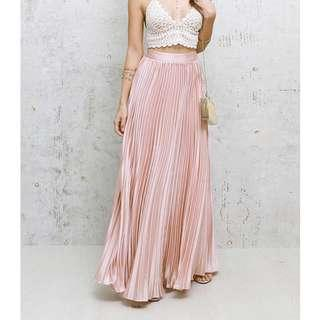 🚚 BNIB🎉 Rose Gold Satin Maxi Skirt