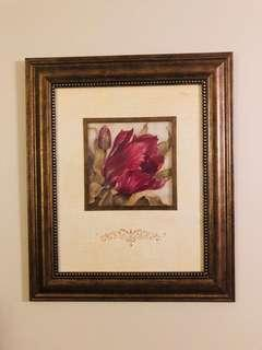 Flower painting picture frame