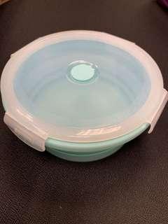 全新💫粉藍色圓形摺疊食物盒