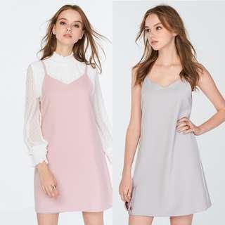 🚚 ❣️ TCL Kara Reversible Slip Dress in Grey / Light Pink, XS