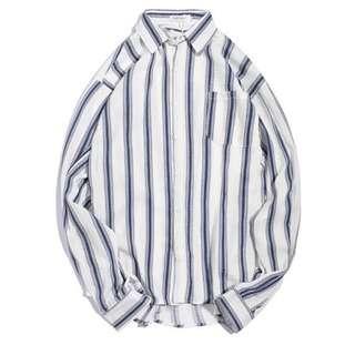 [全新]韓國藍白間條恤衫 (XL)