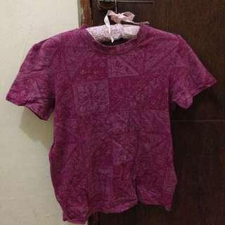 pink patterned tshirt / kaos motif pink