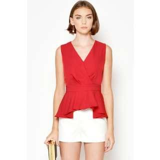 🚚 BNWT🎉 LAB Jacie Pleated Peplum Top in Red, XS