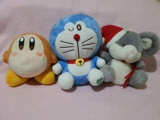 Doraemon, Waddle Dee (Kirby) and Santa Mouse plushie (plus free FF7 Vincent Valentine)